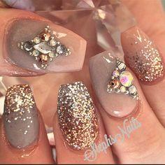 NeutralBeauty #nude#taupe#acrylicnails#rosegold#silver#glitteronglitter#glitterombre#notpolish#love#vegasnay#hudabeauty#nailpromagazine#cutenails#diamonds#studs#cameostyle#stephsnails#stephset