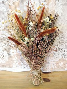 PRIMITIVE HARVEST Bridesmaid Dried Flower Bouquet - For a Rustic Country Wedding.