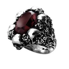 """Large-cm- deep burgundy-cm- faceted Swarovski crystal mounted in a circle of ivy-grown skulls. Width 1.02"""" x Height 1.14"""" x Depth 1.1"""" Approx."""