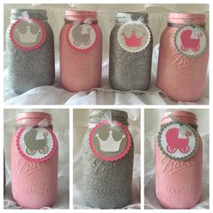 Glittered Mason Jars with Embellishments by UptownAbby on Etsy