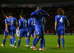 Demba Ba celebrates after scoring against Southampton. Chelsea won the game 5-1 #soccer #sports #chelsea