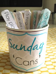 Mormon Mom Planners - Monthly Planner/Weekly Planner: Sunday 'Cans' Suggestions the kids can pull from for activities on the Sabbath.