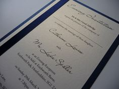 Navy and Ivory Evening invitations for a Wedding Reception