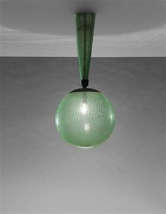 Carlo Scarpa;# 5417 Filigrana Glass and Brass Ceiling Light for Venini, 1930s.