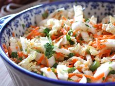 Spicy Asian Slaw Recipe with Napa Cabbage, Carrots & Ginger Dressing (great with hoisen chicken recipe and corn tortillas a tacos). 2 smart points for slaw. Napa Cabbage Slaw, Cabbage Salad, Napa Cabbage Recipes, Savoy Cabbage, 21 Day Fix, Slaw Recipes, Healthy Recipes, Yummy Recipes, Yummy Food