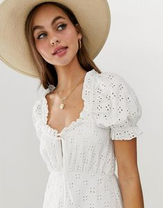 Order ASOS DESIGN puff sleeve broderie tea dress online today at ASOS for fast delivery, multiple payment options and hassle-free returns (Ts&Cs apply). Get the latest trends with ASOS. White Lace, White Dress, Fashion Online, Fitness Models, Asos, Fashion Dresses, Lace Dresses, My Style, Sleeves