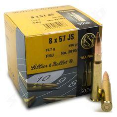 Sellier & Bellot  8x57 JS FMJ 12,7 g / 196 gr - Büchsenpatronen - 50 Stk  Vollmetall-Geschosse