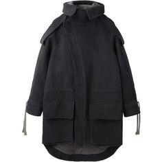 VPL Paramilitary Coat (€620) ❤ liked on Polyvore featuring outerwear, coats, jackets, coats & jackets, utility coat, asymmetrical coat, fur-lined coats, heavy coat and hooded coat