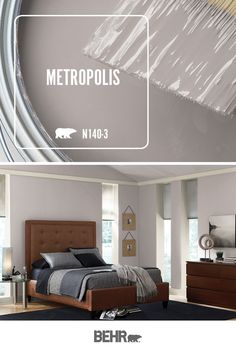 Calling all traditional interior design lovers! BEHR® Paint in Metropolis is the perfect shade of neutral gray. This classic master bedroom is full of inspiration. Add dark tones of brown and black to create a masculine-looking space. Click below for full color details.