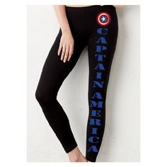 Captain America Workout Legging Pant ($67) ❤ liked on Polyvore featuring activewear, activewear pants, leggings, marvel, black, women's clothing and athletic sportswear