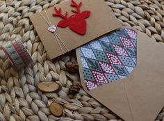 Tarjeta de felicitación navideña colección reno