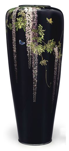 A cloisonné enamel hexagonal vase Meiji period (late century), signed Kyoto Namikawa (workshop of Namikawa Yasuyuki; Japanese Vase, Japanese Ceramics, Ceramic Pottery, Ceramic Art, Sgraffito, Art Nouveau, Vases, Art Japonais, China Painting