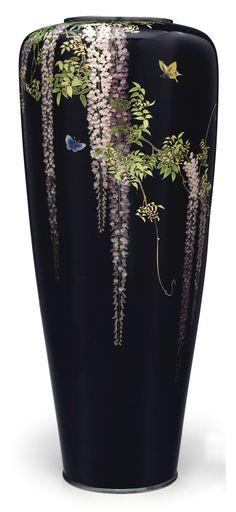 A cloisonné enamel hexagonal vase Meiji period (late century), signed Kyoto Namikawa (workshop of Namikawa Yasuyuki; Japanese Vase, Japanese Ceramics, Ceramic Pottery, Ceramic Art, Art Nouveau, Vases, Art Japonais, Bronze, Sgraffito