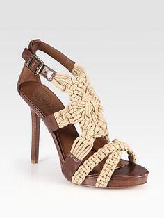 Tory Burch - Fleur Jute Rope & Leather Sandals