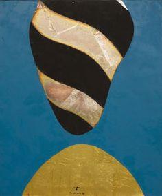 Kenji Yoshida, Inochi To Heiwa (Life and Peace), 1996. Oil and metals on canvas , 65 x 54 cm.