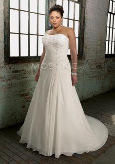 Longueur au sol robe de mariée grande taille empire chiffon traîne chapelle [#M1407226224] - modanie