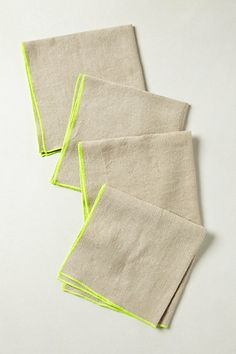 easy sewing project--embroider a neon edge to linen. napkins from anthropologie