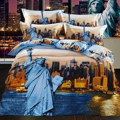 Cheap bedding sets, Buy Quality bedding set directly from China cover set Suppliers: cotton new arrival luxury Statue of Liberty Sailing hotel bed sheet set bedclothes quilt cover set bedding set