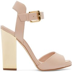 Giuseppe Zanotti Pink Metallic Heel Sandals ($275) ❤ liked on Polyvore featuring shoes, sandals, heels, sapatos, zapatos, puf pink, pink shoes, ankle strap sandals, leather sole shoes and ankle tie shoes