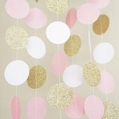 Pink White and Gold Glitter Circle Polka Dots Paper Garland Banner
