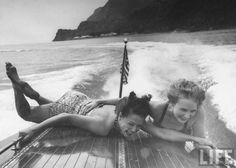 Betty Brooks and Patti McCarty Motor Boating at Catalina Island Photographic Print by Peter Stackpole - So Funny Epic Fails Pictures Motor Boats, Life Magazine, Black And White Photography, Old Photos, Summer Fun, Hello Summer, Make Me Smile, Sailing, In This Moment
