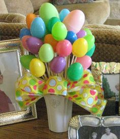 Easter Egg Bouquet--these are empty, but you could put a few jelly beans or other light weight small candy in them--maybe even a little bit of money if you are using this as a gift.