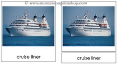 Marine Transportation - Montessori 3-Part Classified Cards - Printable Montessori Materials for home and school.