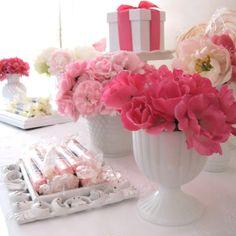 milk glass arrangement with flowers