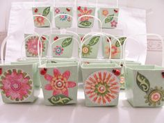 16 Flower garden favour boxes  by SparkleandComfort on Etsy, $20.00