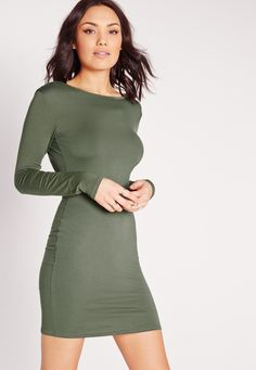Missguided - Jersey Scoop Back Bodycon Dress Khaki