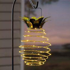 Solar Hanging Lanterns, Lanterns Decor, Solar Lights, Fairy Lights, Path Lights, Pineapple Lights, Pineapple Lamp, Pineapple Kitchen, Pineapple Design