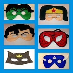 Superhero Felt Mask Super Set  Buy More Save MORE by kissedbyafrog, $50.00