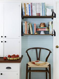 Use on-display storage to keep you favorite books in eyesight: http://www.bhg.com/kitchen/remodeling/budget/cozy-budget-kitchen-makeover/?socsrc=bhgpin092014ondisplaystorage&page=6