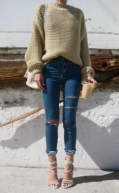 cable knit + ripped skinnies + heels casual outfit idea