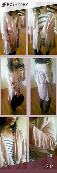 |FAVORITE  || BLUSH TAN JACKET CARDIGAN This right here...Love it. It's a nice Mauve/ Tan colored lightweight jacket/ cardi.  With flap overlay in front and back. Sleeves can be rolled up to 3/4 or down for full arm coverage. Comes with extra button. Vesatile piece!  SIZES AVAILABLE : S M L  •Modeling size Medium.  •BUNDLE 2 ITEMS AND GET 15% OFF. WINDSOR Jackets & Coats Utility Jackets