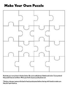 This is a simple but fun activity for all elementary ages. For the younger ones I like to just let them be creative and work out the complexities o. School Age Activities, Activities For Kids, Create Your Own Puzzle, Colegio Ideas, After School Care, Higher Order Thinking, Classroom Fun, Summer School, Elementary Art