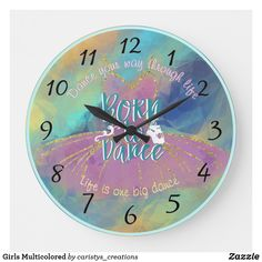 Girls Multicolored Large Clock Cute Clock, Dance 4, Design Girl, Large Clock, Little Girl Rooms, Watercolor Background, Nursery Room, Girls Shopping, Clocks