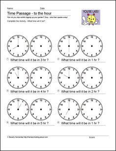 Math Worksheets - Time Passage to the Hour, Half-hour, and Quarter-hour