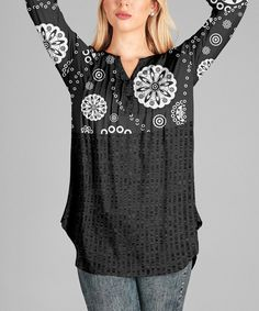 Loving this Black & White Geometric Button-Front Tunic - Plus on #zulily! #zulilyfinds