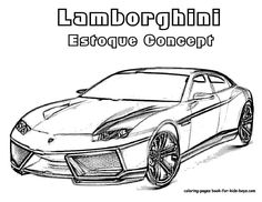 auto coloring | Lamborghini Cars Coloring 1 Drawing