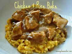 What's For Dinner Tonight? How About this fast and easy Chicken And Rice Bake. It's quickly thrown into a casserole dish and baked - dinner on the table in less than an hour!