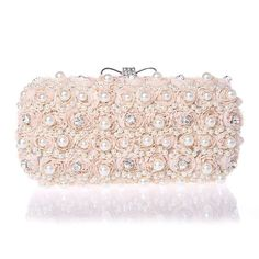 White Flowers Beaded Woman Evening Bag / Clutch Handbag – Premium Luxury Clutches & Purses
