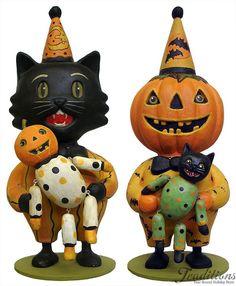 Halloween black cat and pumpkin man with dolls - Greg Guedel folk art