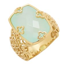 Treasures of Morroco Sterling Silver Yellow Gold Plate Gemstone Ring