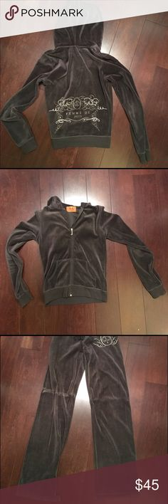 Juicy Tracksuit - FEMME DE JUICY Juicy Couture gray velour tracksuit.                                       - Top is in great condition, bottom has wear and tear - some ripping (can possibly dry clean and hem to hide?)                                                                                                   - Authentic, timeless, and comfortable! Juicy Couture Other