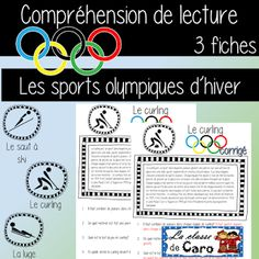 La classe de Caro: Thème: Les olympiques d'hiver Core French, French Class, Teaching French, Second Language, French Language, Teacher Helper, French Resources, Learn French, Reading Comprehension