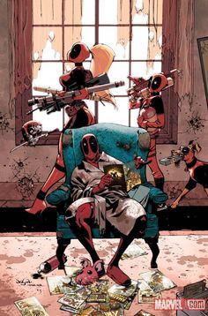 Deadpools....ASSEMBLE!! Batman has his cave, Justice League has their orbiting fortress, The Avengers have SHIELD, and Deadpools have Deadpool's apparentment....reasons why I LOVE Deadpool.