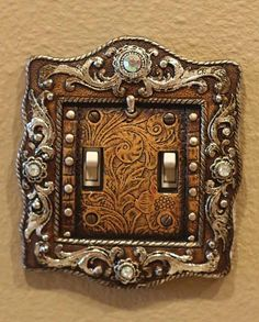This Old West Vintage Brown Engraved Double Light Switch Cover Plate would  look great in any  Western House DecorWestern  Cowhide Letter R Wall Decor by LizzyandMe   country decor  . Wild West Home Decor. Home Design Ideas