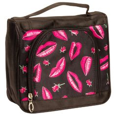 Black Satin Feel Travel Cosmetic Make Up Case Bag w/ Pink Lips & Floral Roses SilverHooks.