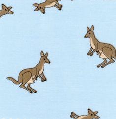Kangaroos on Blue Fabric, Fabric Finders, 1/2 yard. $4.25, via Etsy.